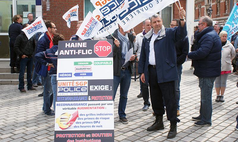 Manifestation des policiers à Dunkerque