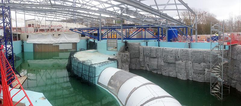 Boulogne mer un tiers du bassin du futur nausicaa rempli for Boulogne sur mer piscine