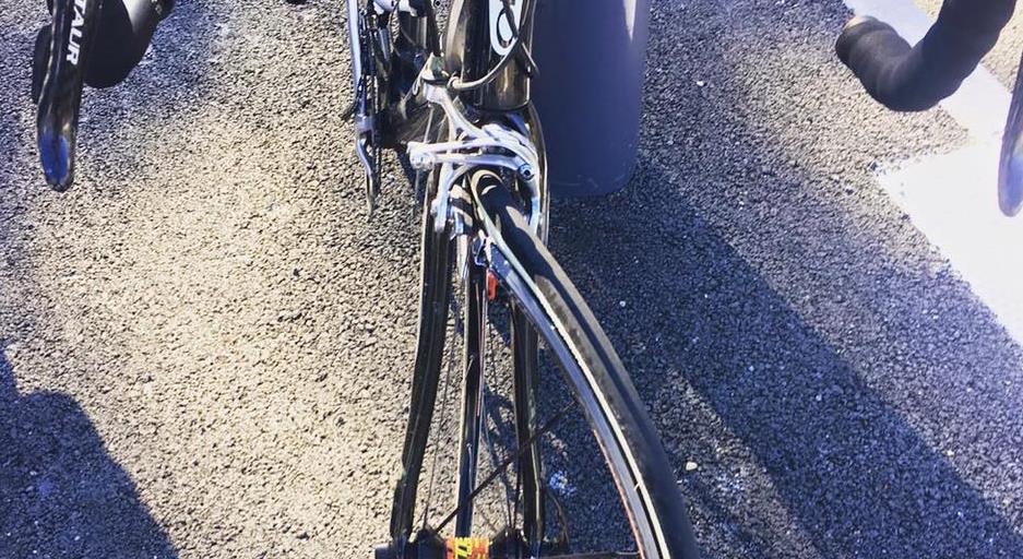 Illustration d'un accident de vélo du pilote Adrien Van Beveren - Delta FM